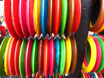 Colorful Bangles. Collection of colorful wooden bangles for sale in indian market Royalty Free Stock Photography