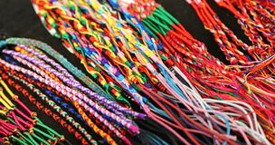 Colorful bangles and necklaces wire produced by a expert craftsm Royalty Free Stock Photos