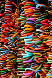 Colorful bangles. Vibrant, colorful bangles on display in the street shops at Munnar, India royalty free stock photo