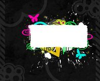 Colorful banner. Grey colorful banner with butterflies stock illustration