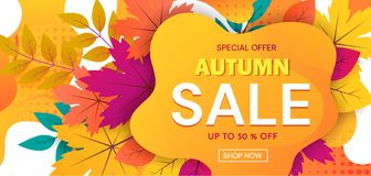 Colorful banner advertising an Autumn Sale with 50 percent discounts and special offers with text on abstract orange royalty free illustration