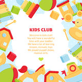 Colorful banner for baby play club. Vector card with colorful baby icons for greetings, banners Royalty Free Stock Photo