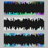 Colorful banner background design set - horizontal vector graphics. From rounded vertical stripes on black background royalty free illustration