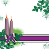 Colorful banner and candles. Abstract colorful illustration with green fir branches, colored banner, bow and burning candles. Card for winter holidays Stock Photos