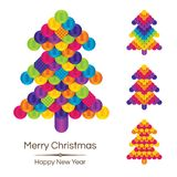 Colorful Banner with Christmas Tree on White Background. Royalty Free Stock Images