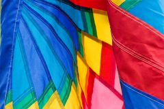 Colorful Banner Closeup. A close up of a colorful banner blowing in the wind -- shallow DOF Royalty Free Stock Photos