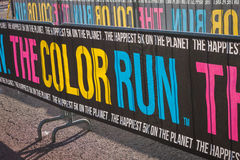 Colorful banner at the Color Run 2014 in Milan, Italy Royalty Free Stock Image
