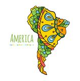 Colorful banner with hand-drawn South America continent. Vector. South America hand-drawn continent. Painted bright doodle map of South America. Vector stock illustration