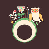 Colorful banner with owl and flowers on dark background. Royalty Free Stock Images