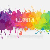 Colorful banner with paint stains. Bright abstract background, colorful template with paint splatters Stock Photography