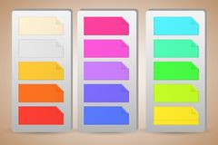 Colorful banner paper notes sticked on holders Royalty Free Stock Photography