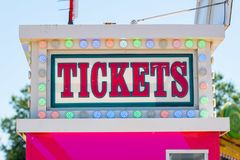 Ticketing booth with banner on top of it royalty free stock photography