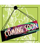 Colorful banner with words coming soon Royalty Free Stock Image