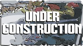 Colorful banner with words under construction  Royalty Free Stock Photos