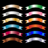 Colorful banners. Set of twelve colorful banners isolated on black background.EPS file available Stock Illustration