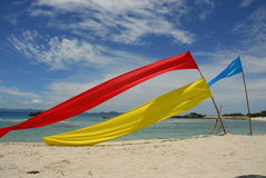Colorful banners on beach  Stock Photo