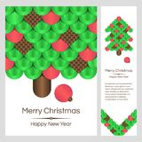 Colorful Banners with Christmas Tree on White Background. Image for your design project Royalty Free Stock Photography
