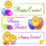 Colorful banners with Easter chicken and painted eggs Royalty Free Stock Photo