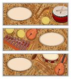 Colorful banners with notes and musical instruments. royalty free illustration