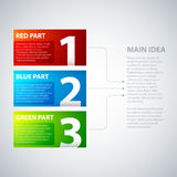 3 colorful banners, numbered from one to three, with arrows leading to the main idea Stock Image