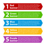 5 colorful banners with numbers and text Royalty Free Stock Photo