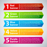 5 colorful banners with numbers and text Stock Photo