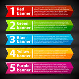 5 colorful banners with numbers and text. Stock Image