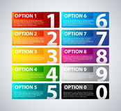 10 colorful banners with numbers from zero to nine.  Stock Image