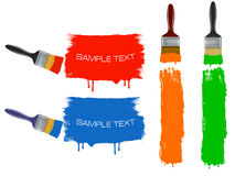 Colorful banners with paintbrushes. Stock Photo