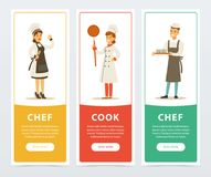 Colorful banners with professional workers. Set of three colorful banners with professional workers cook and chef. Cartoon design characters. Flat people in Royalty Free Stock Photos