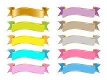 Colorful banners ribbons clip art vector clipart EPS SVG. Party elements rainbow colorful banner images stock illustration