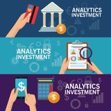 Colorful banners set of analytics investment. Vector illustration Royalty Free Stock Images