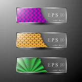 Colorful banners set. Set of different colored transparent and patterned banners Stock Image