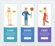 Colorful banners set with professional restaurant workers. Colorful banners set with professional workers cook, chef. Flat people in white kitchen uniform with Stock Images
