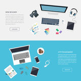Colorful banners set. Workplace. Workspace. Quality design illustration royalty free illustration