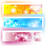Colorful banners with shapes and shining. For website Stock Illustration