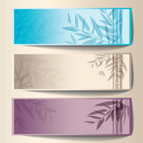 Colorful banners with the tree branches. Stock Photo