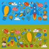 Colorful banners Vector set of doodle icons on following themes - creativity and inspiration, idea and imagination Stock Photos