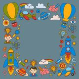 Colorful banners Vector set of doodle icons on following themes - creativity and inspiration, idea and imagination Royalty Free Stock Photos
