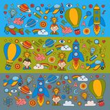 Colorful banners Vector set of doodle icons on following themes - creativity and inspiration, idea and imagination Royalty Free Stock Photography