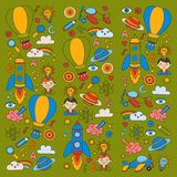 Colorful banners Vector set of doodle icons on following themes - creativity and inspiration, idea and imagination Stock Images