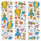 Vector set of doodle icons Notepad checked paper - creativity and inspiration, idea and imagination, innovation and Stock Photos