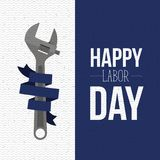 Colorful banners with zigzag lines of happy labor day with spanner tool with blue ribbon decorative. Vector illustration Royalty Free Stock Images