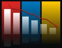 Colorful bar chart. A colorful bar chart showing a decrease or reduction by a red line and arrow above the bars Stock Image