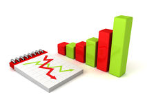 Colorful bar chart graph with paper notebook Royalty Free Stock Photos