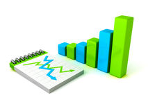 Colorful bar chart graph with paper notebook. Business concept 3d render illustration Stock Photos