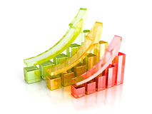 Colorful Bar Charts With Growing Up Arrows. Business Success Con. Cept 3d Render Illustration Stock Photo