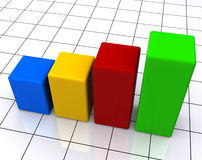 Colorful bar graph. A colorful bar graph showing an increase Stock Photos