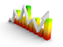 Colorful bar graph diagram with growing up rising arrow Royalty Free Stock Photo