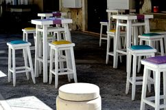 Colorful bar stool in a cafe royalty free stock photo